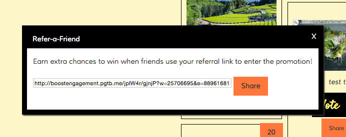 Reward entrants for sharing