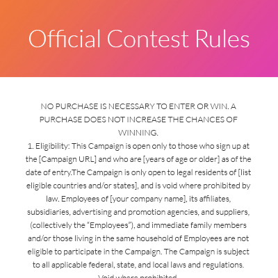 Templates For Contests Giveaways Or Landing Pages Shortstack