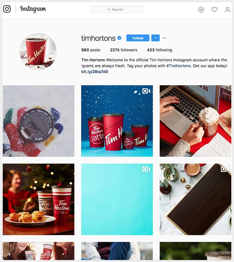 Tim Horton's Instagram profile