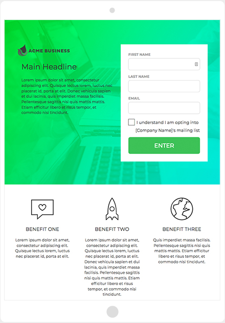 ShortStack's Landing Page + Form template