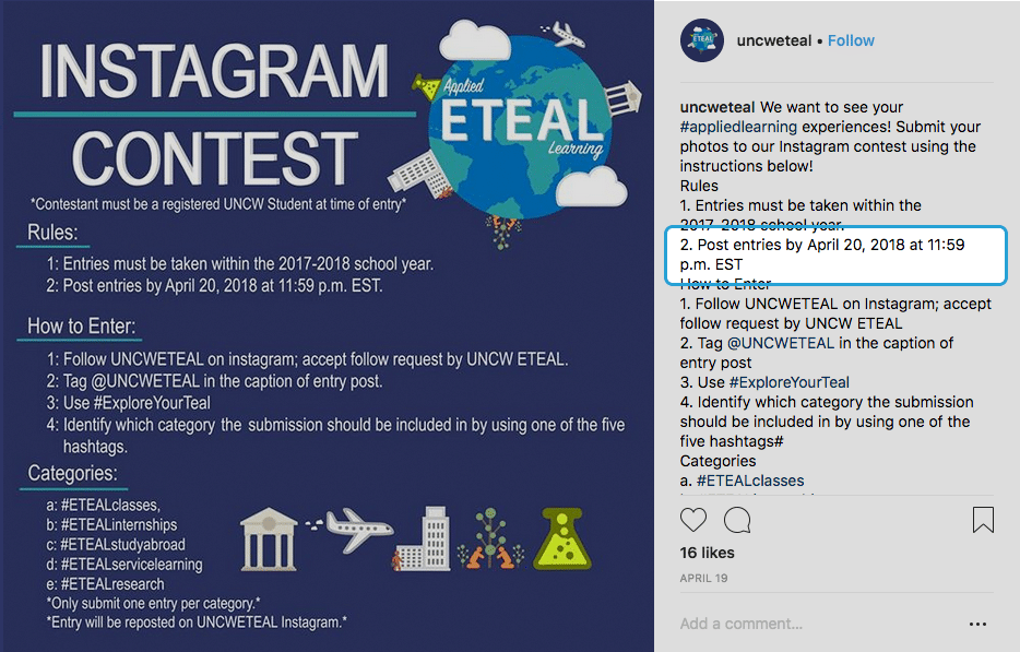 Example Giveaway Rules for Instagram Contests and Giveaways