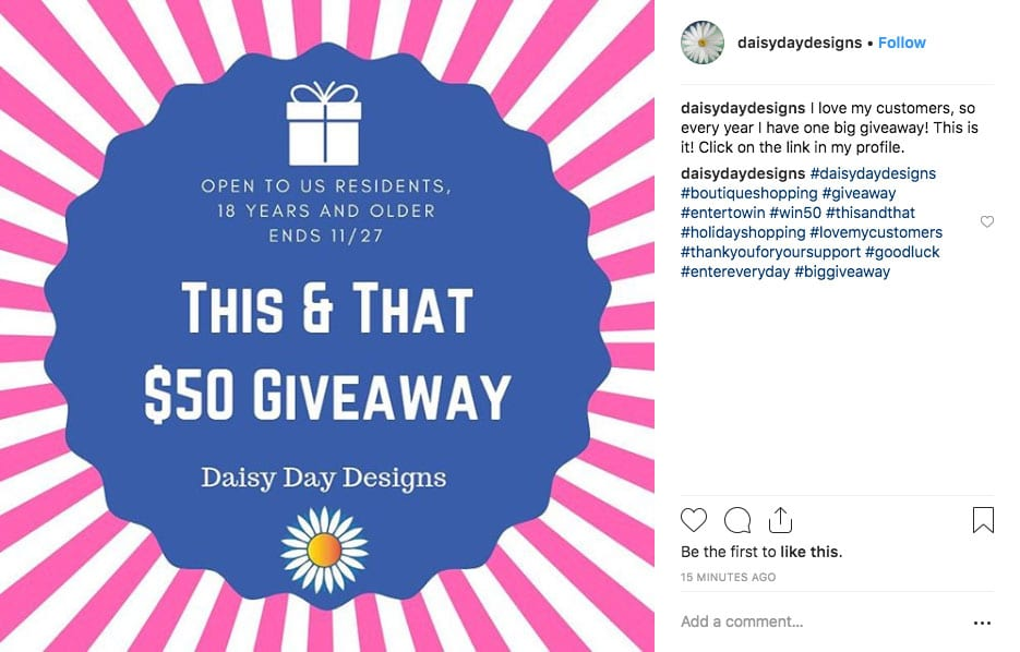 Instagram Giveaway Email
